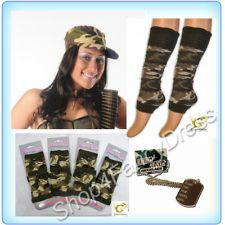 Ladies Sexy Army Camouflage Costume - Cap, Dog tags, Wrist bands, Leg warmers