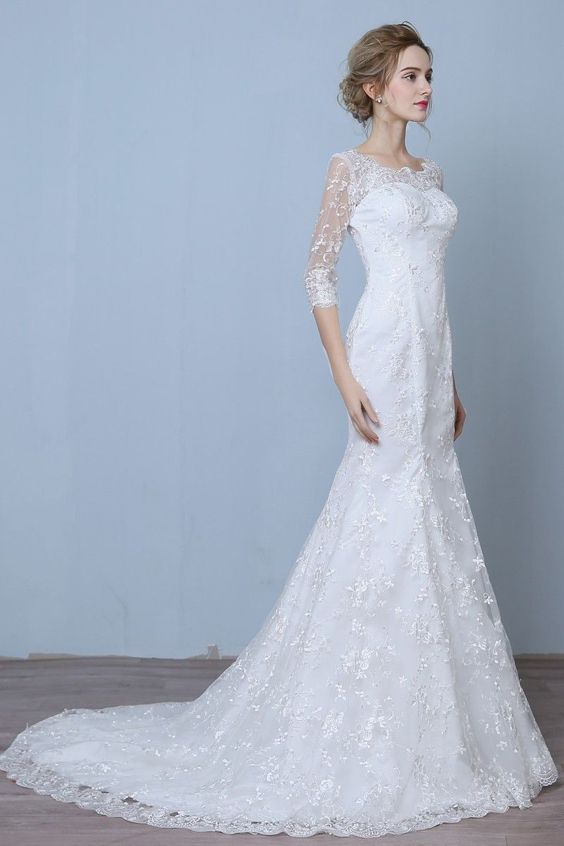 Elegant three quarter sleeve floor length train lace mermaid wedding