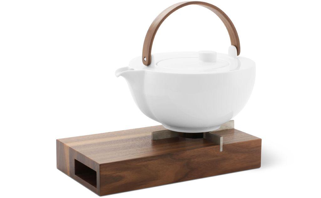 Teekanne Porzellan Mit Stövchen stövchen und kanne aus nussbaumholz und porzellan