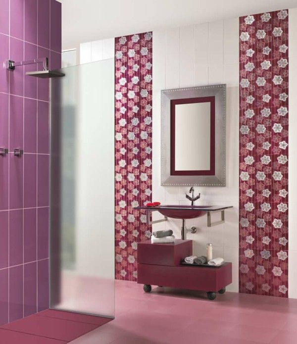 Tiles Furs Bathroom Sergio Dark Red Purple Color Combination