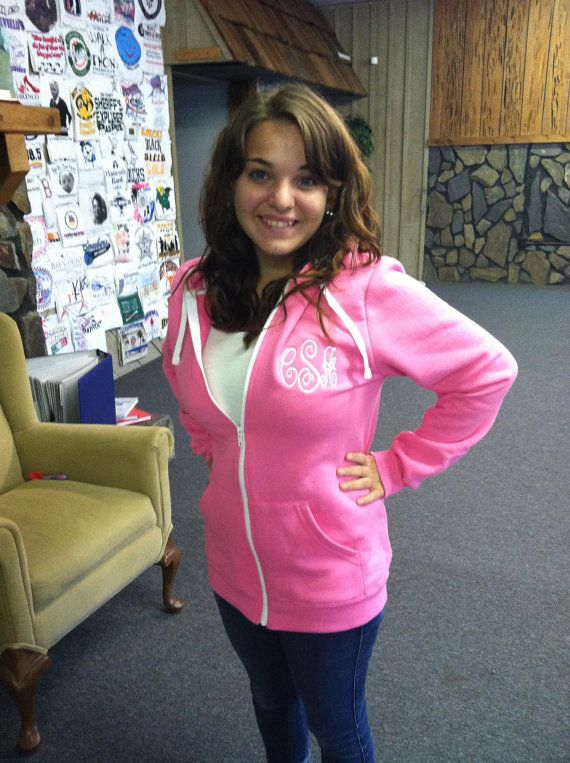 Monogrammed Zip Up Hooded Sweatshirt by WhoDeyPromotions on Etsy, $30.50