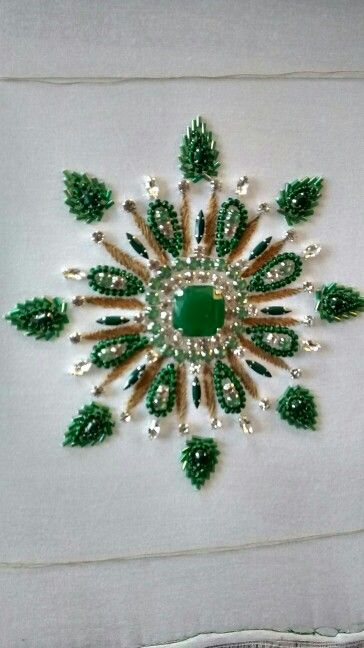 Our Creation With Natural Stones Hand Embroidery Designs Beadwork Embroidery Beaded Embroidery