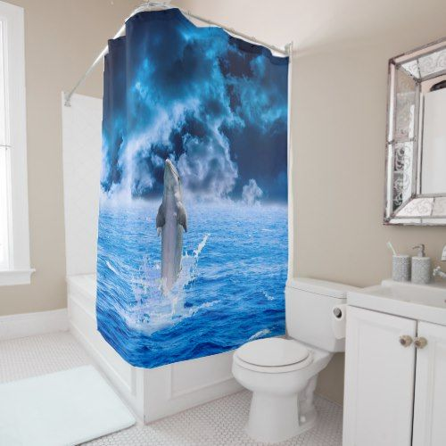 Dolphin Ocean Storm Shower Curtain Zazzle Com Ocean Storm