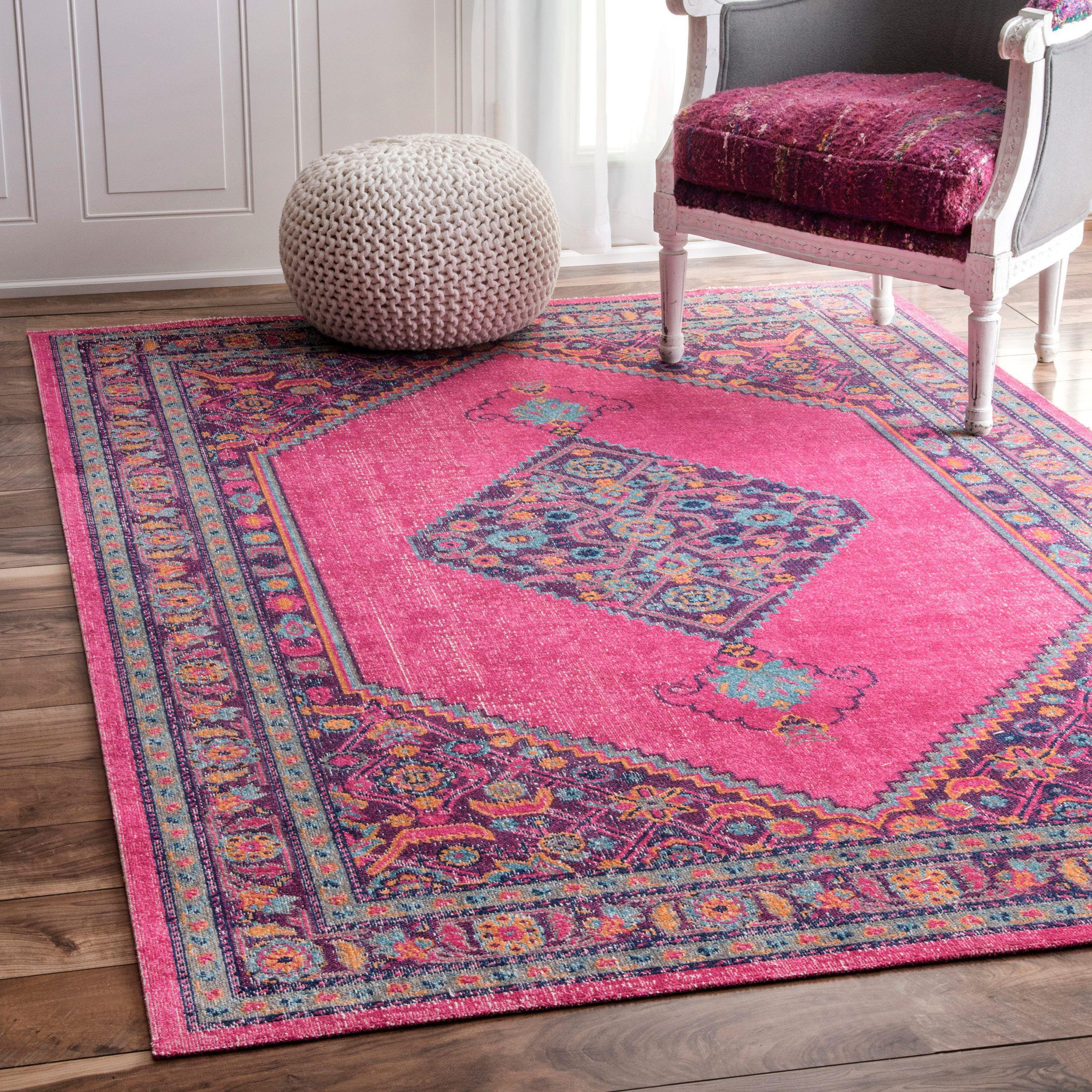 nuLOOM Vintage Persian Border Pink Rug 8 x 10 Pink rug