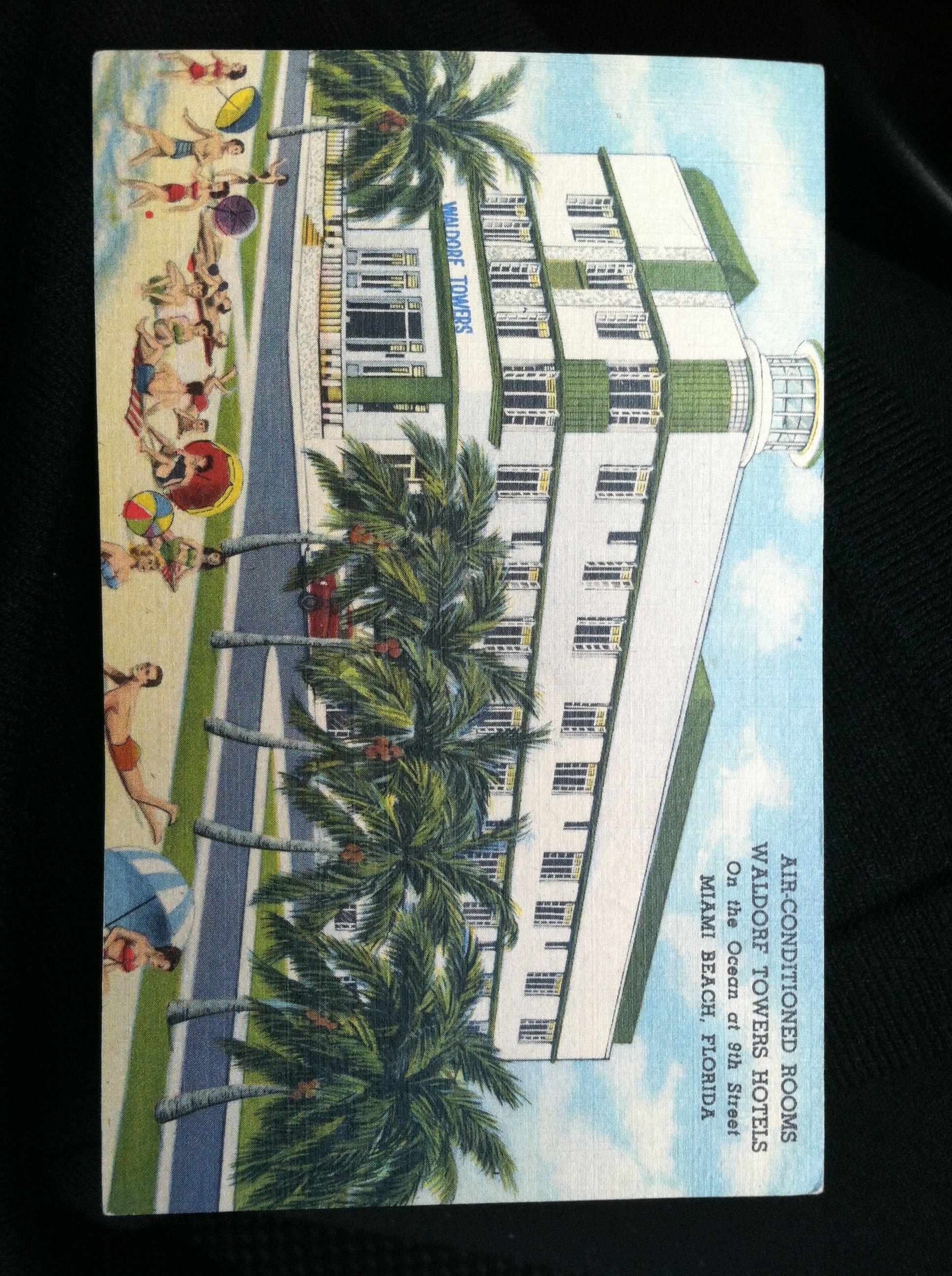 Waldorf Towers Miami Beach Postcard