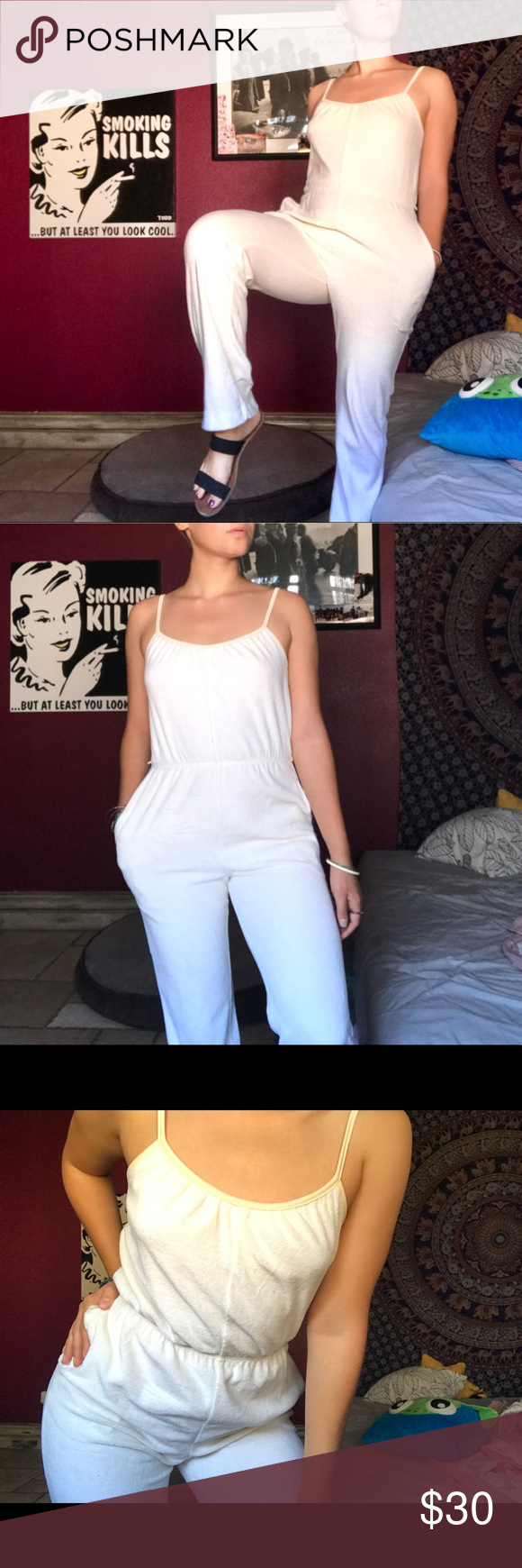 3e88c24c813c 90 s vintage saks fifth avenue velvet jumpsuit 90 s Saks fifth avenue  vintage white velvet jumpsuit So soft and comfortable this jumpsuit is  everything.
