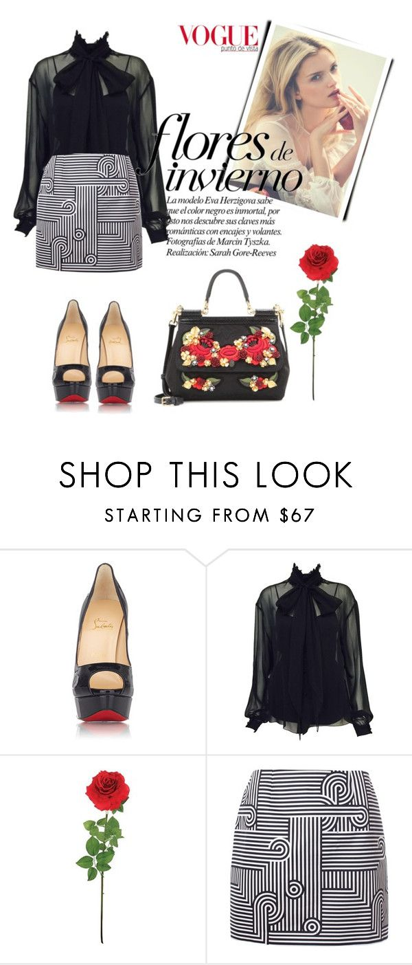"""""""Fiore d'inverno."""" by living-on-the-catwalk ❤ liked on Polyvore featuring Christian Louboutin, Karl Lagerfeld, Laura Cole, Victoria, Victoria Beckham, Dolce&Gabbana, TrickyTrend and highneckblouse"""
