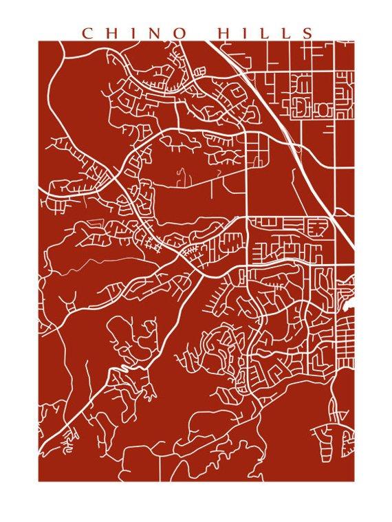 Chino Hills Map Print California Poster Beautiful City