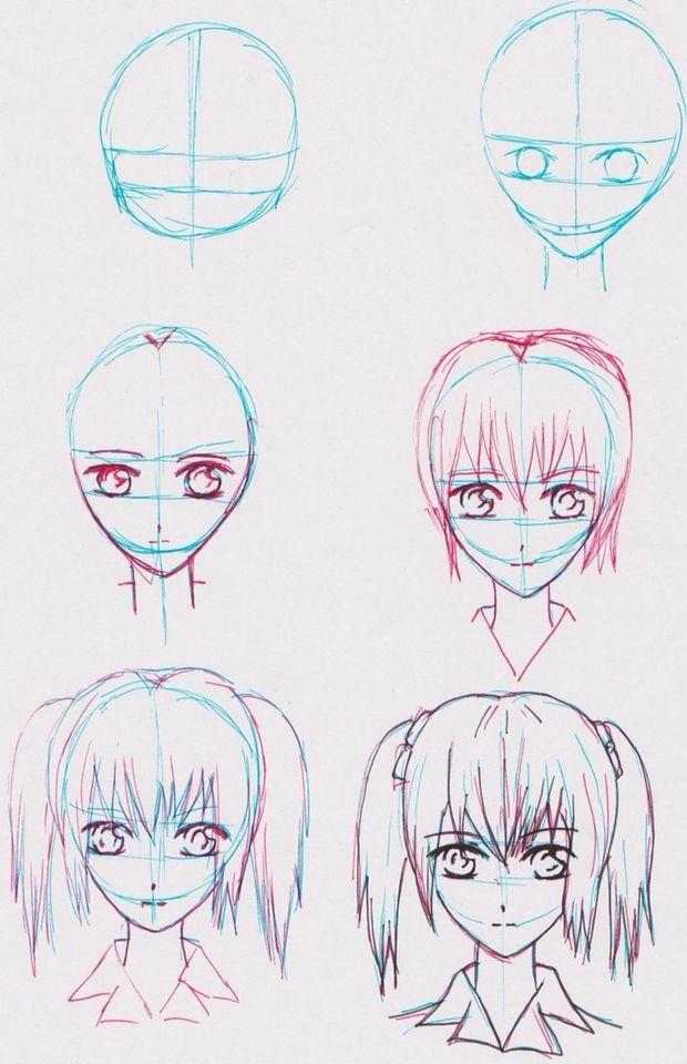 Рисунки аниме поэтапно карандашом для начинающих легкие