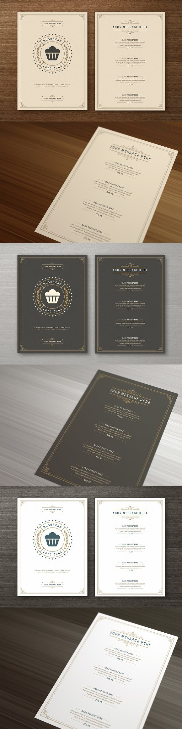 Restaurant Menu with Logo Design. Brochure Templates
