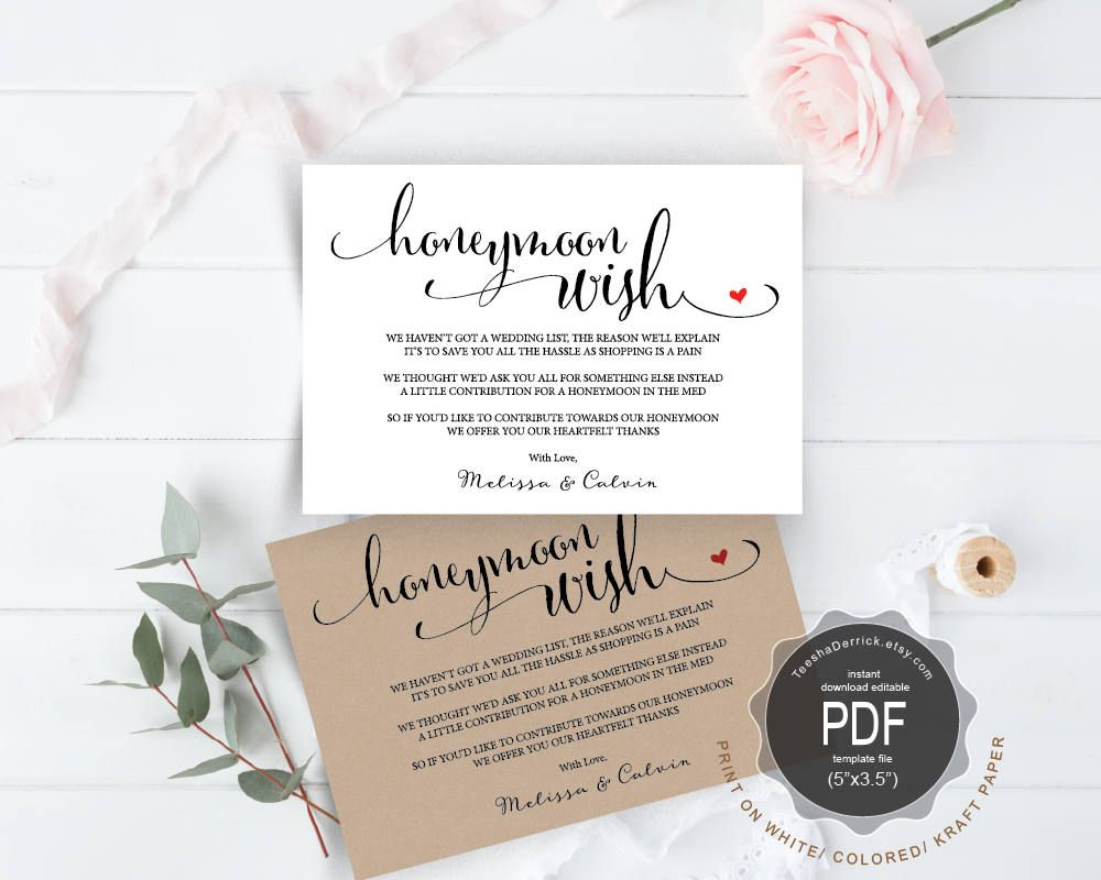 Honeymoon Wish Pdf Card Template Instant Download Printable Editable Insert Card Wishin Honeymoon Wish Wedding Invitation Card Design Invitation Card Design