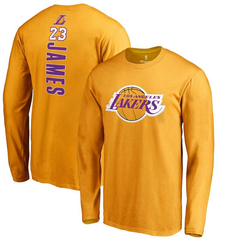 c6ee1c4bbd2 LeBron James Los Angeles Lakers Fanatics Branded Backer Name   Number Long  Sleeve T-Shirt – Gold