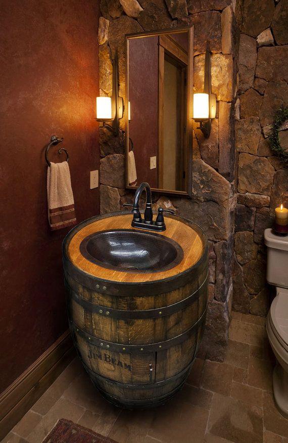whiskey barrel sink hammered copper rustic antique bathroom bar man cave vanity wine oak. Black Bedroom Furniture Sets. Home Design Ideas