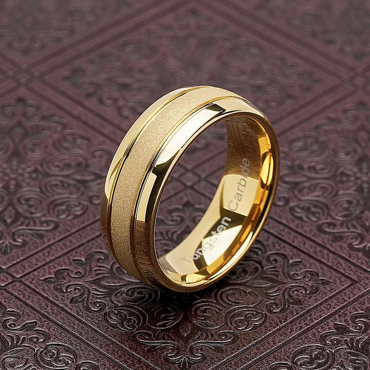 Casual Modern Sandblasted Finish Band For A Bride Or Groom Offers Affordable Luxury Without Appear In 2020 Mens Wedding Rings Gold Rings For Men Tungsten Mens Rings