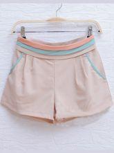 Beige Pleated Color Block Mid Waist Chiffon Shorts
