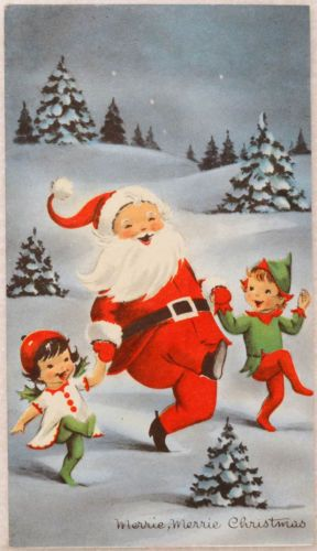 #630 40s Elves Dance with Santa-Vintage Christmas Greeting Card