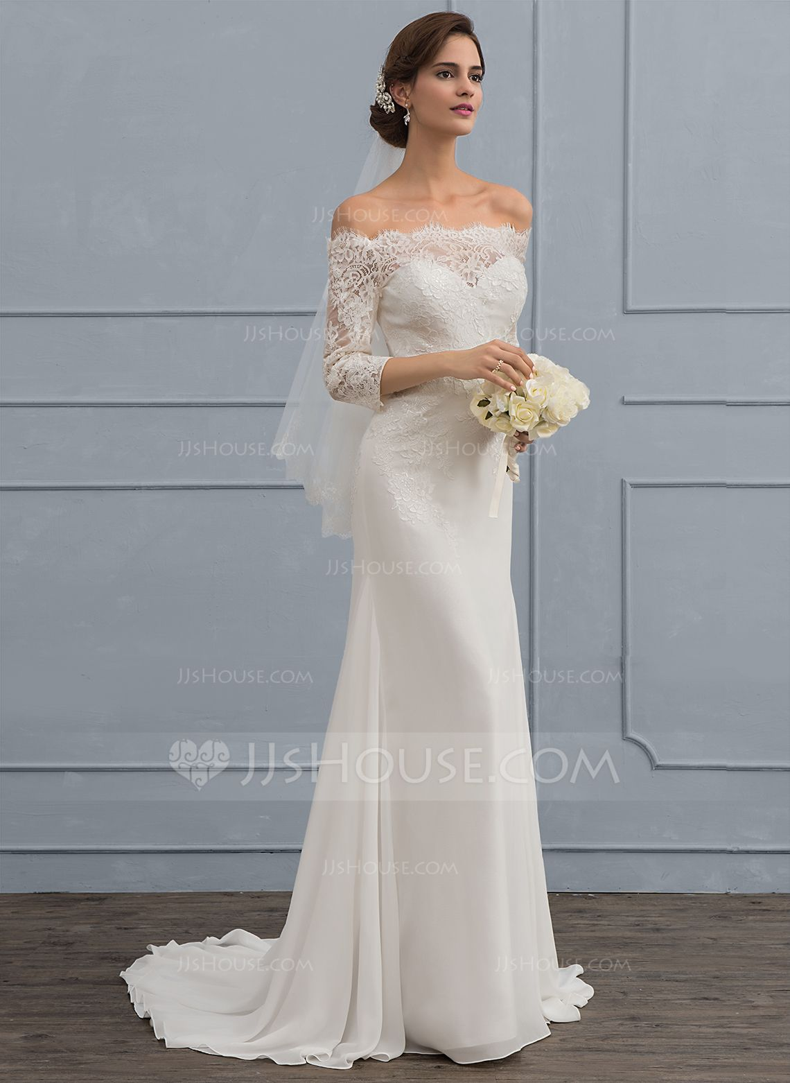 Trumpet/Mermaid Off-the-Shoulder Sweep Train Chiffon Wedding Dress ...