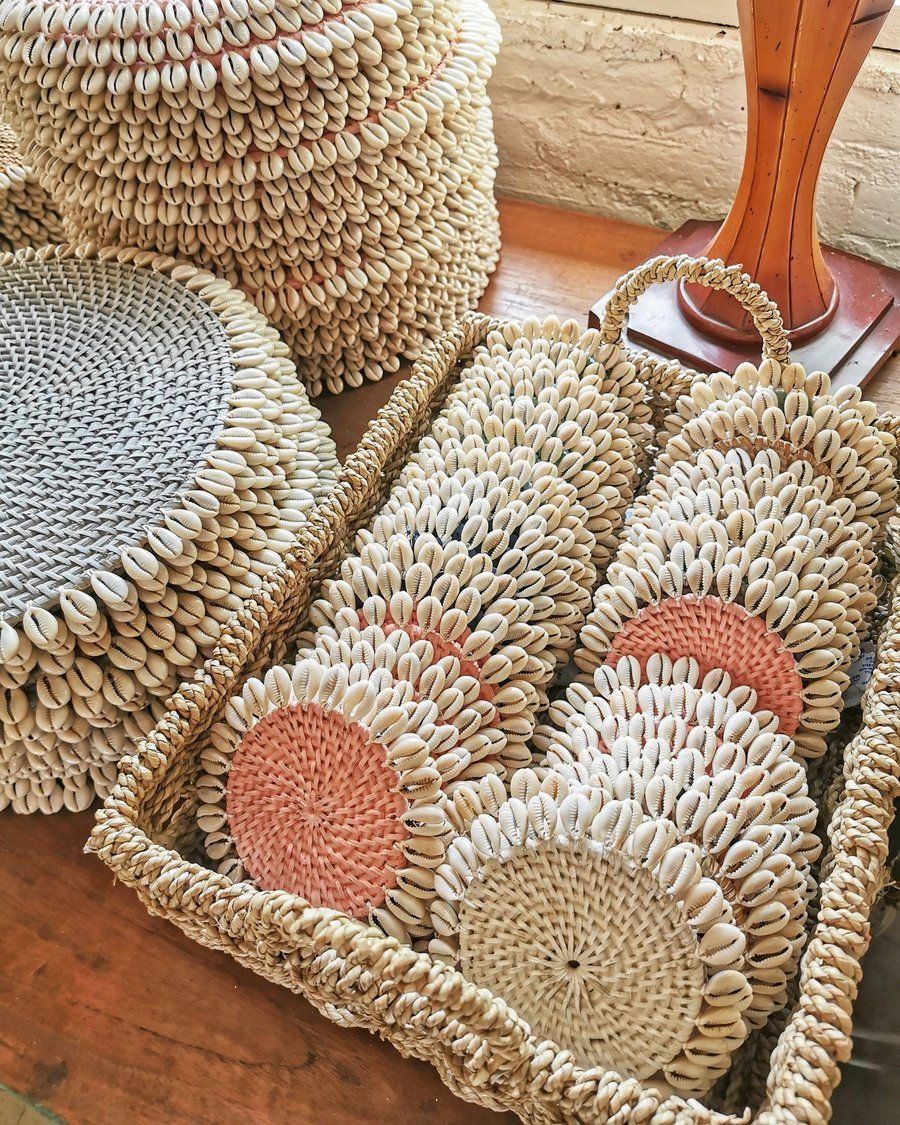 Rattan Coasters With Cowrie Shells Set Of 4 In 2020 Cowrie Shell Crochet Coasters Rope Crafts