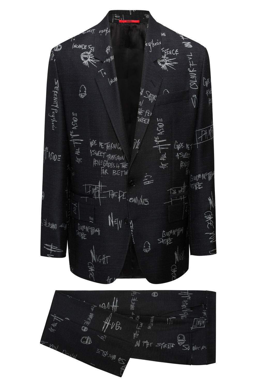 b88213c9fe9e1 Hugo Scribble-Print Virgin Wool Suit