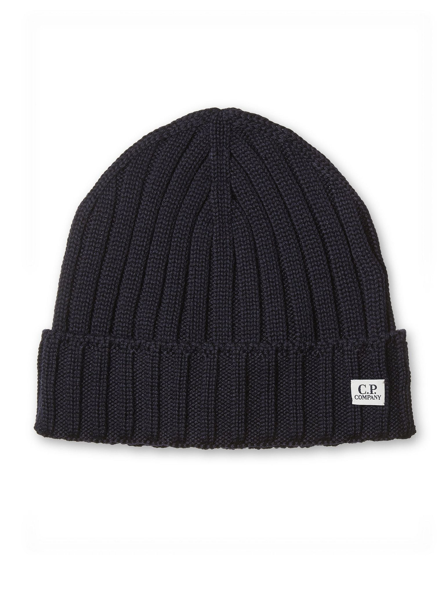 aab0adf59 C.P. Company Extrafine Merino Wool Beanie Hat in Navy Blue | Accessories