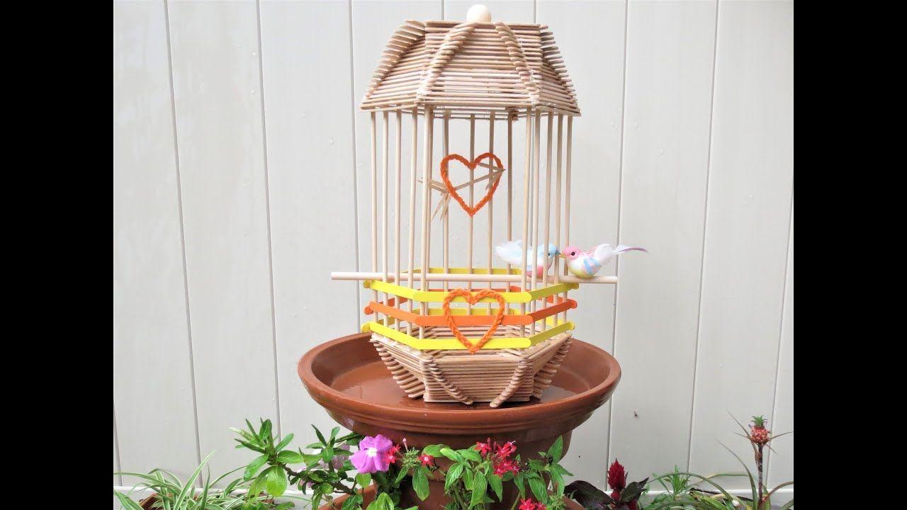 bird cage craft DIY Feeder popsicle stick DIY Bird