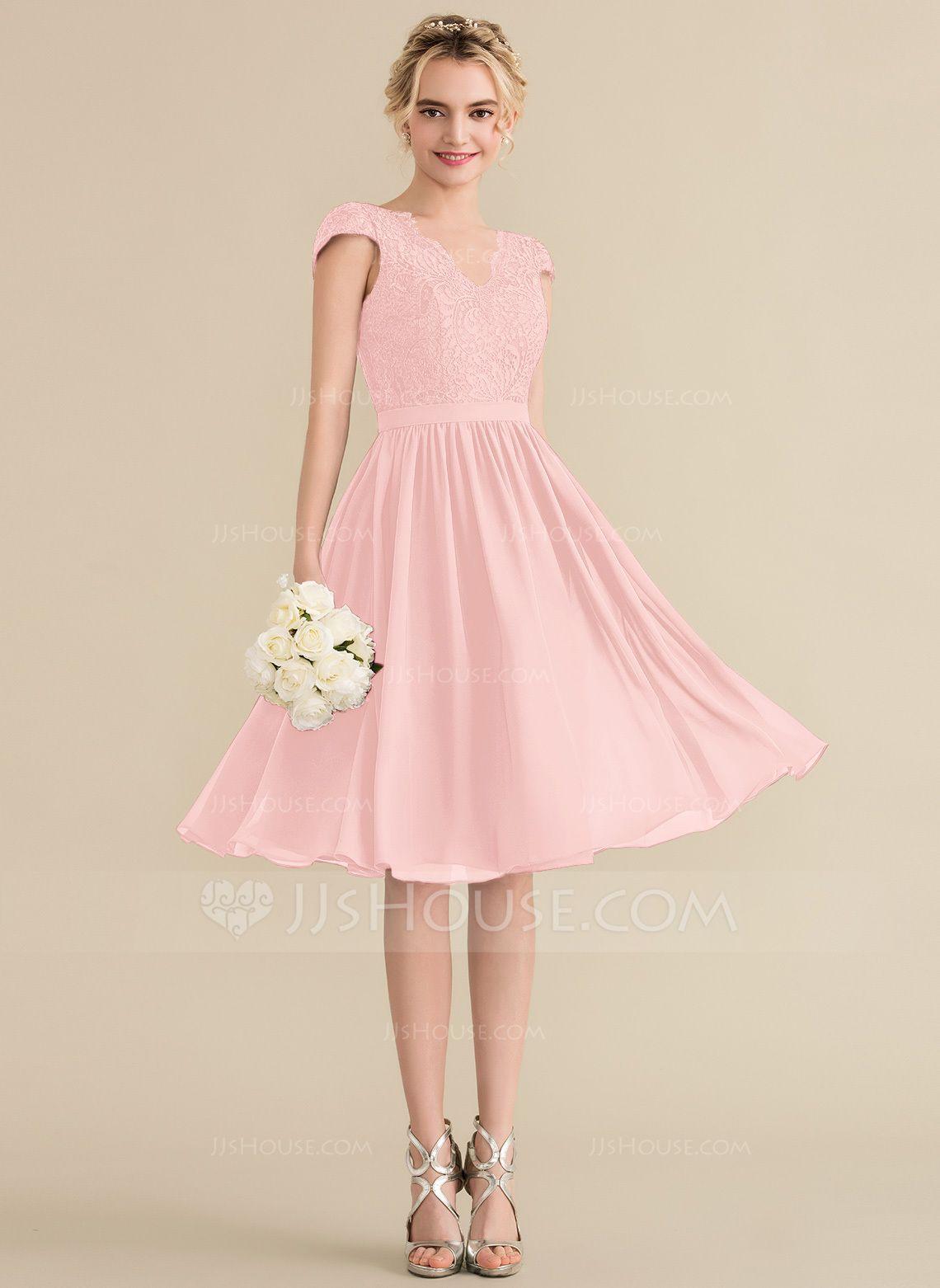 4663834ae5ef1 A-Line/Princess V-neck Knee-Length Chiffon Lace Bridesmaid Dress  (007144774) - Bridesmaid Dresses - JJ's House