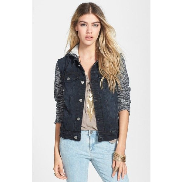 Free People Denim & Knit Jacket (650 NOK) ❤ liked on Polyvore featuring outerwear, jackets, pumice black, knit jacket, denim jacket, free people jacket, black denim jacket and knit denim jacket