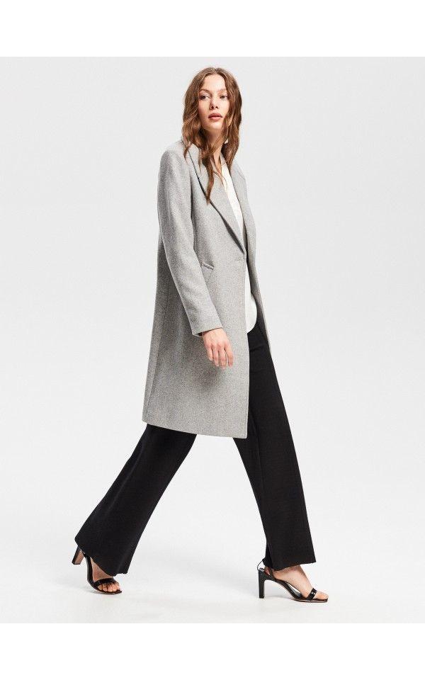 vielfältig Stile neue Version am besten verkaufen Mantel mit Wollanteil, Jacken, Mäntel, hellgrau, RESERVED ...