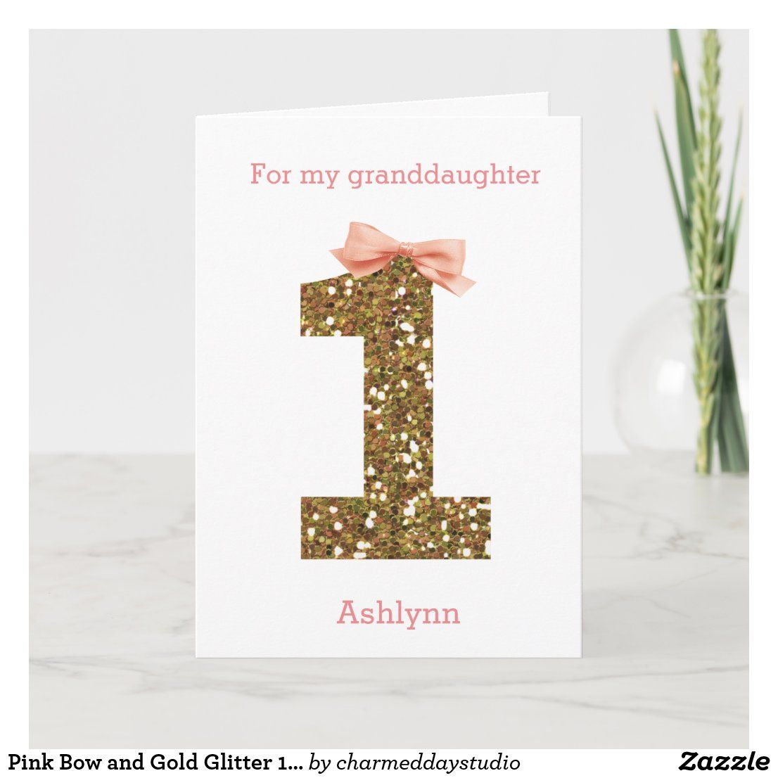 Pink Bow And Gold Glitter 1st Birthday Card Zazzle Com 1st Birthday Cards Birthday Cards Girl Birthday Cards