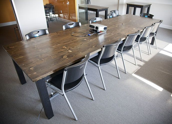 Solid Wood Farmhouse Style Conference Table Wooden Conference Table - Counter height conference table