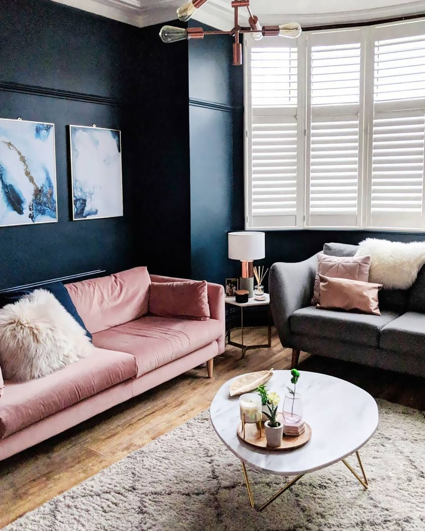 How To Add A Blush Pink Note To Your Home Decor Shake My Blog Pink Couch Living Room Couches Living Room Blue And Pink Living Room