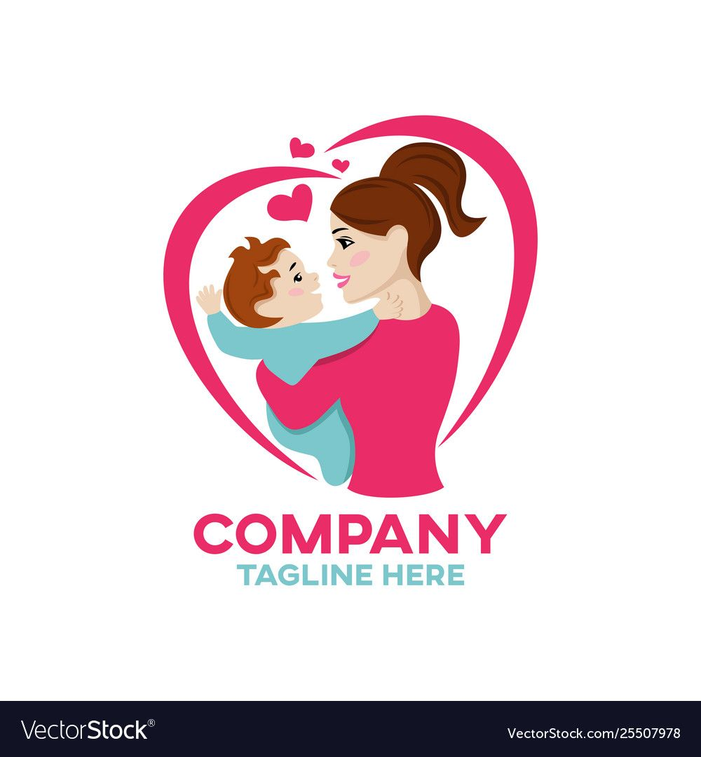 Modern Happiness Mother And Child Logo Royalty Free Vector Aff
