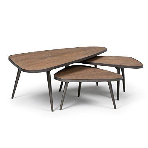Simpli Home Aubrey 3 Piece Nesting Coffee Table Set, Distressed Brown |  House | Pinterest | House