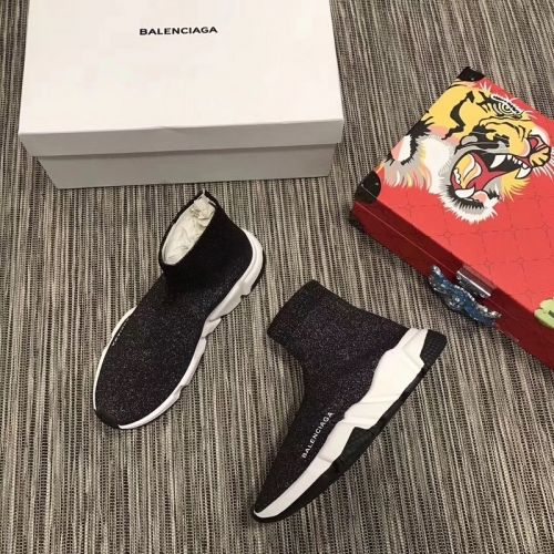 3c0915c7aa96 Real Womens Balenciaga Speed Knit Trainers 2018 Face Black Contrasting  Textured White Sole