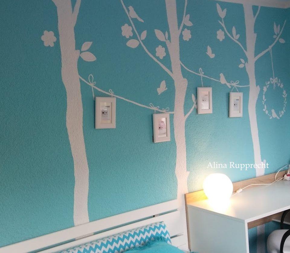 Vintage mädchen zimmer dekor kreative wandgestaltung mädchenzimmer farbenweiss türkisblau