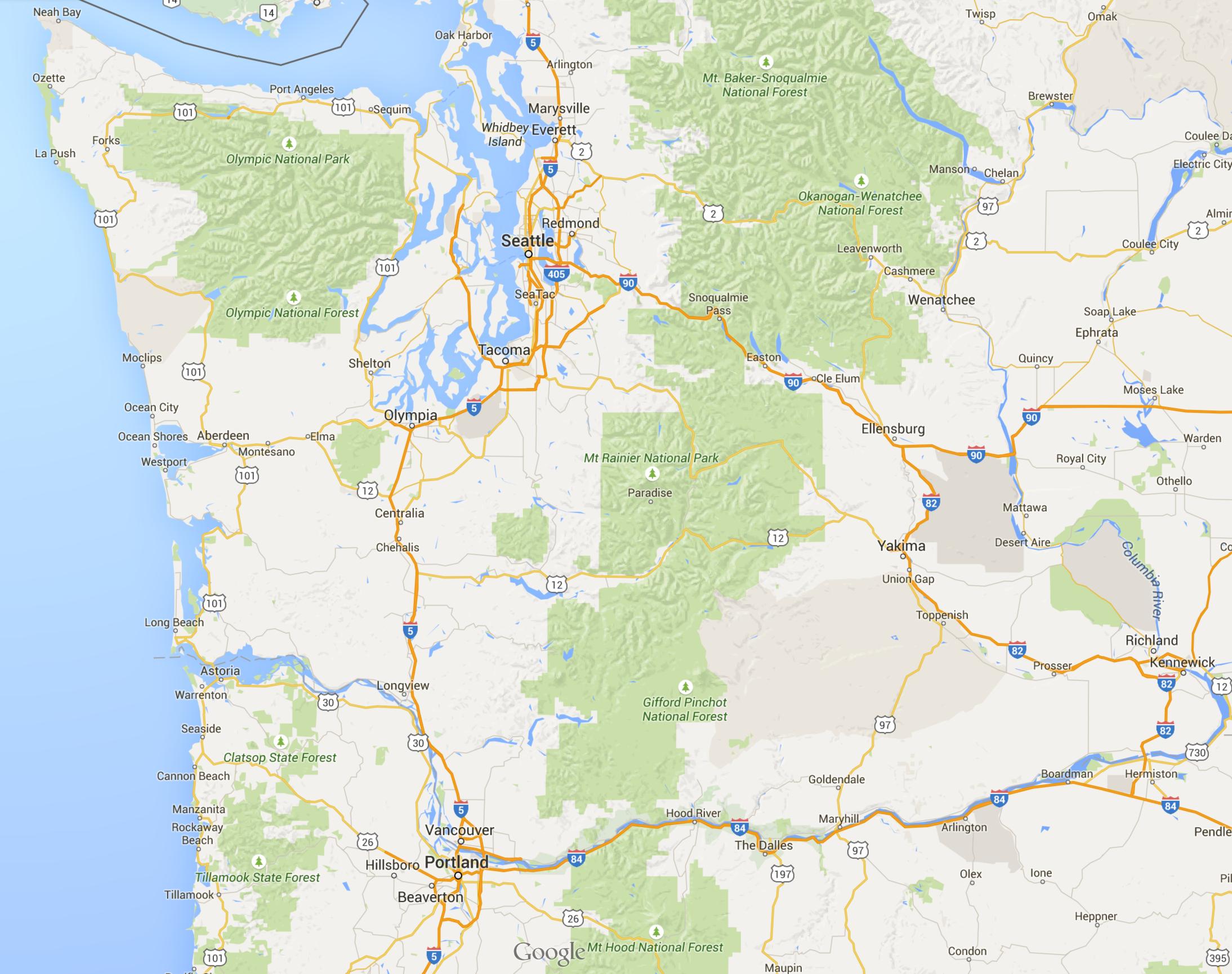 seattle to portland map Seattle Portland Map Portland Map Map Interactive Map seattle to portland map