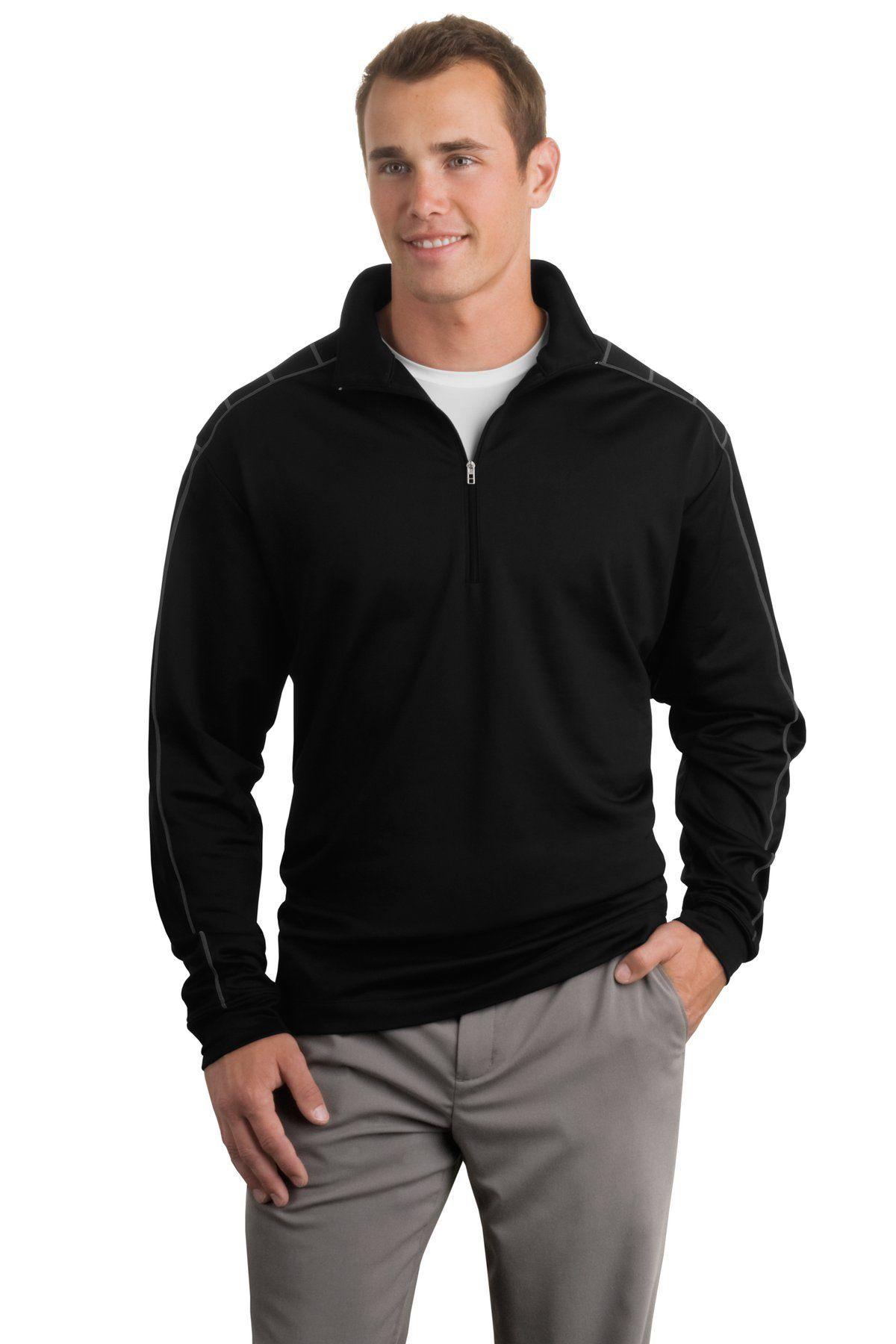11c4b45acde3 Men Golf Clothing - NIKE GOLF DriFIT 1 2Zip CoverUp 354060 Black Dark Grey  XL