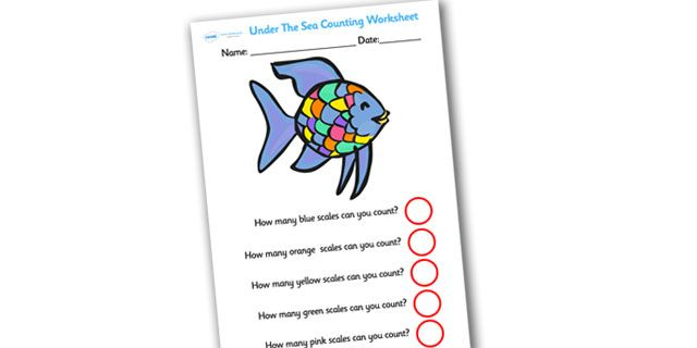 Twinkl resources rainbow fish themed scales counting for Rainbow fish activities
