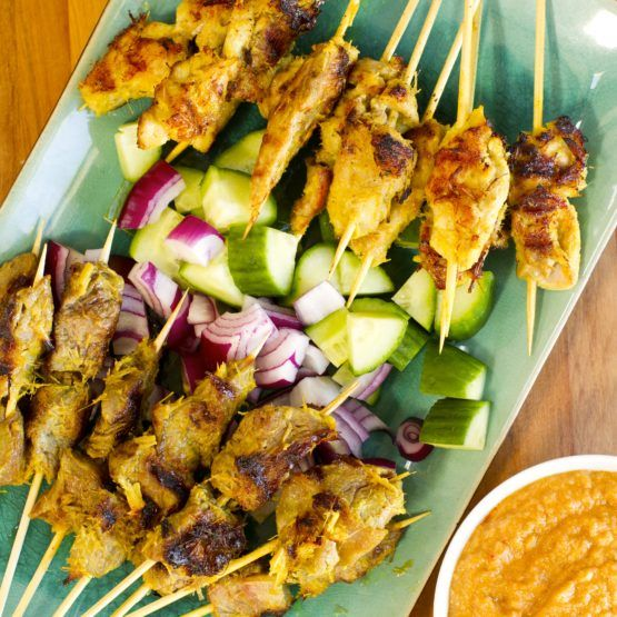 Beef And Chicken Satay With Peanut Sauce Recipe Chicken Satay