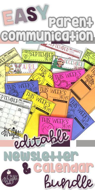 Editable Newsletter And Calendar Templates  Parents Teacher And