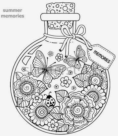 Coloring For Adults A Glass Vessel With Memories Of Summer A Bottle With Bees Butterflies Ladybug And Leaves Do It Yourself Summer Coloring Pages Colo