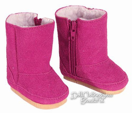 Pink Suede Boots Fits 18 inch American Girl Dolls