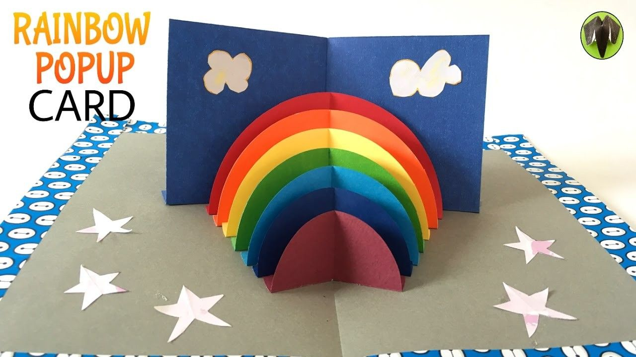 Tutorial To Make Rainbow Stand Up Popup Card Diy Diy Pop Up Cards Rainbow Crafts Paper Crafts For Kids