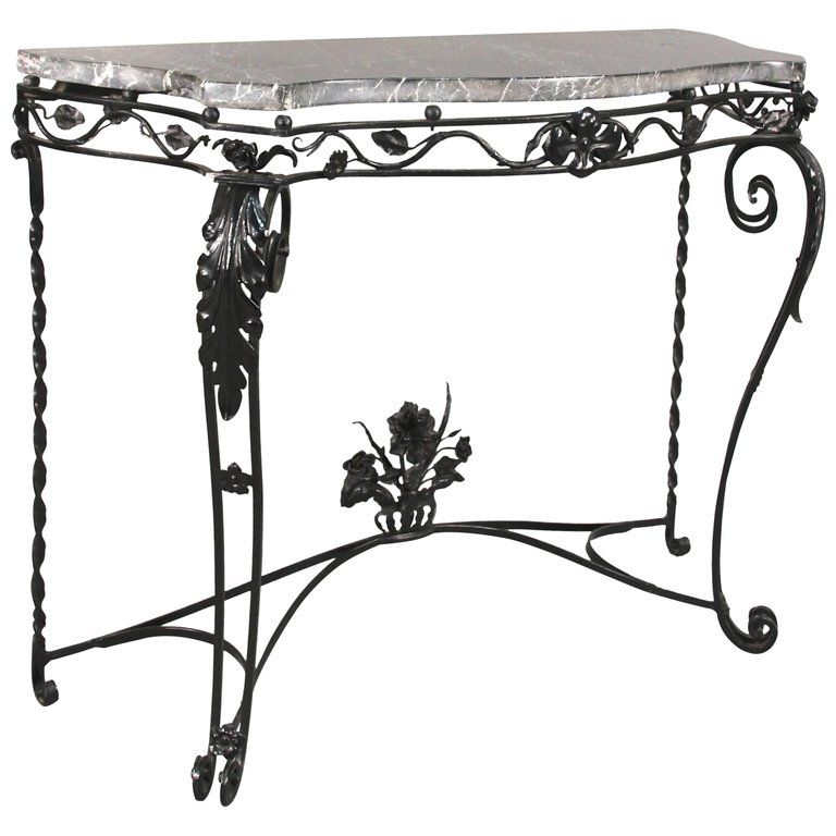 Antique Wrought Iron Console With Marble Top Circa 1920s Iron