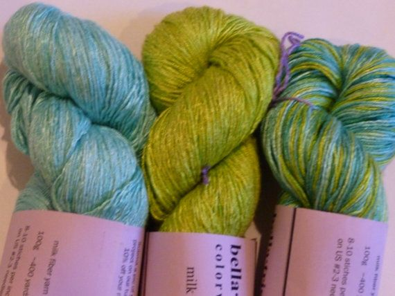 Mermaid Greens and Blues: Milk Yarn hand-dyed lace by BellaTrista