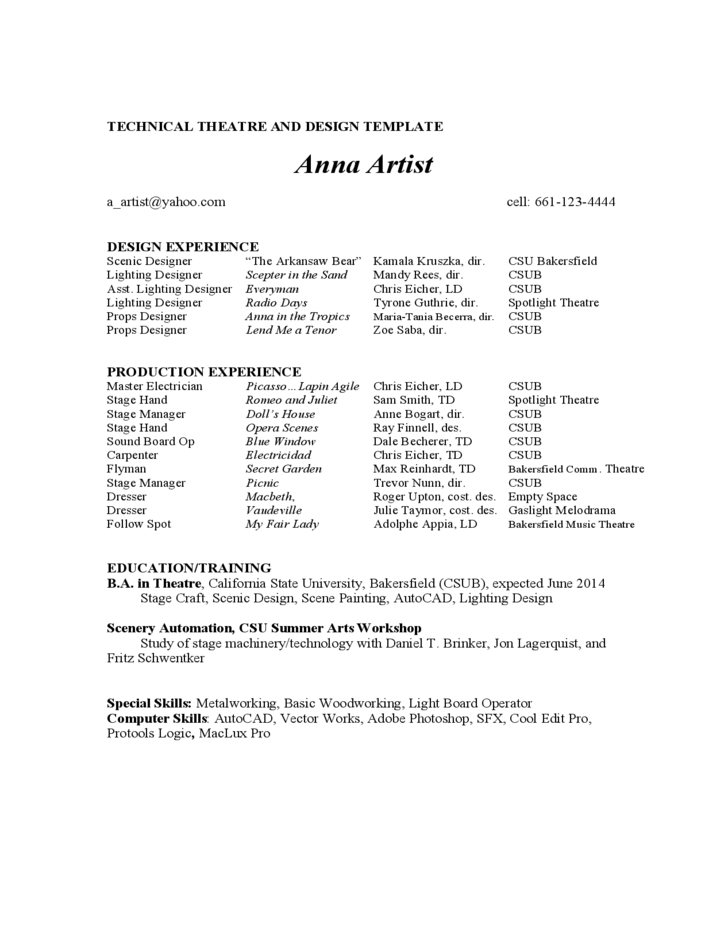 Acting Resume Example Free Download Beginner Sample Examplechild