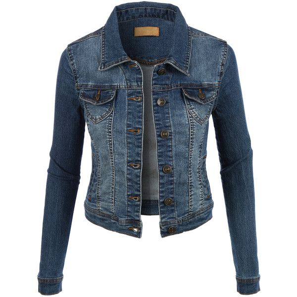 LE3NO Womens Classic Vintage Long Sleeve Denim Jean jacket (€32) ❤ liked on Polyvore featuring outerwear, jackets, coats, denim, vintage denim jacket, denim jacket, long sleeve jacket, tailored denim jacket and blue denim jacket
