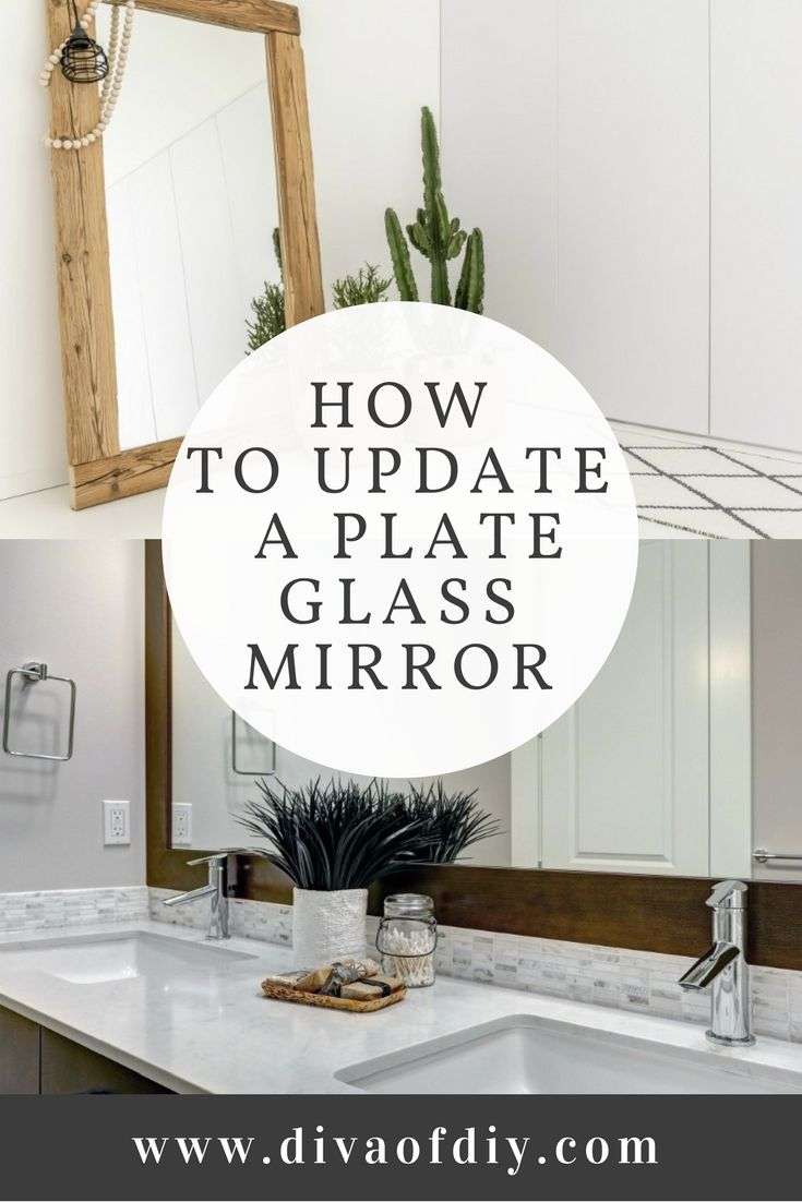 You can completely transform the look of your bathroom by adding a frame around your builder-grade plate glass mirror.Removing the mirror without destroying the sheetrock is almost impossible. Building a frame with wood is likely going to be the quickest and least expensive option for updating the look. via @divaofdiy
