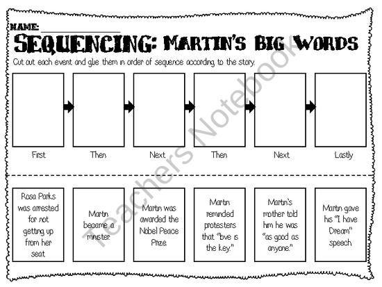 sequencing worksheet martin s big words my classroom pinterest