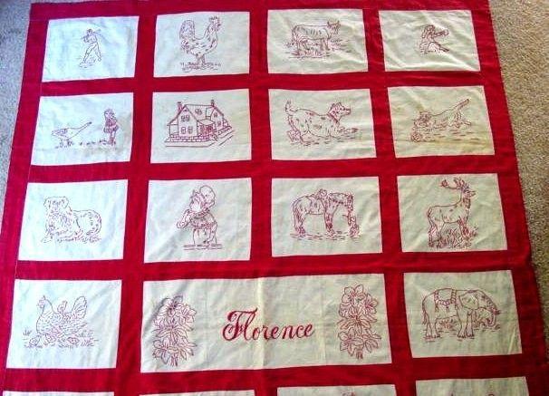 Vintage Redwork Quilt Pattern for Hand Embroidery FLORENCE pdf ... : hand embroidery quilt patterns - Adamdwight.com
